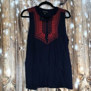 Forever21 Plus Blue Tank Top w/Red Embroidering